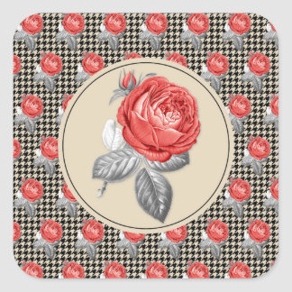 Vintage pink roses and houndstooth pattern square sticker