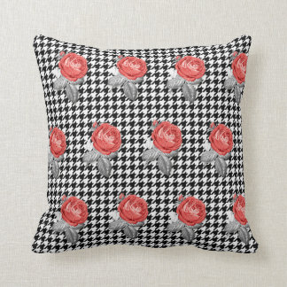 Vintage pink roses and houndstooth pattern throw pillow