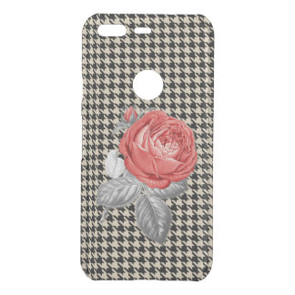 Vintage pink roses and houndstooth pattern uncommon google pixel case