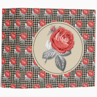 Vintage pink roses and houndstooth pattern vinyl binders