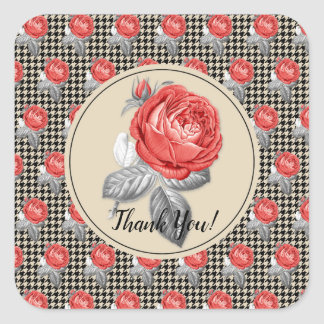 Vintage pink roses and houndstooth Thank You Square Sticker