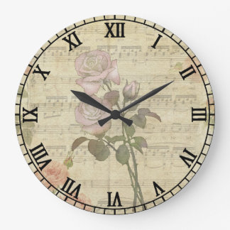 Vintage Pink Roses and Music Score Wall Clocks