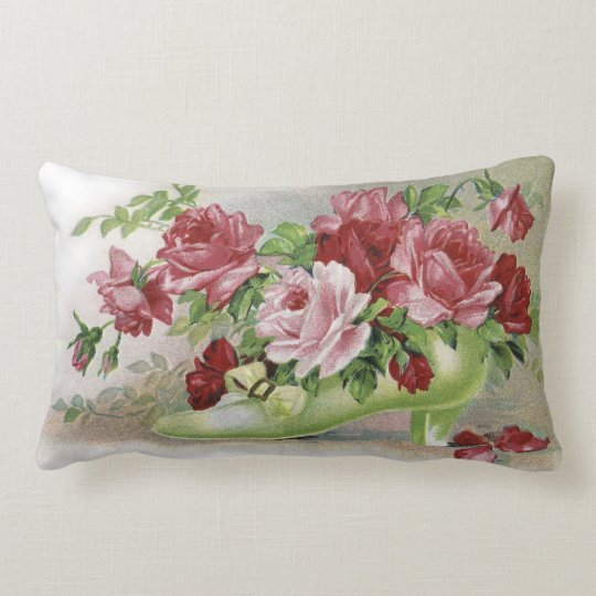 Vintage Pink Roses and Shoe Lumbar Pillow