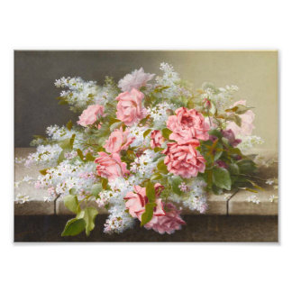 Vintage Pink Roses and White Lilacs Photo
