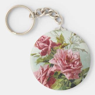 Vintage Pink Roses Bouquet Basic Round Button Keychain