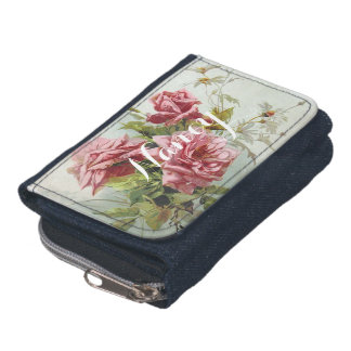 Vintage Pink Roses Bouquet Wallets