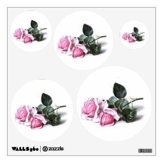 Vintage Pink Roses Dots Circles Wall Decal Set