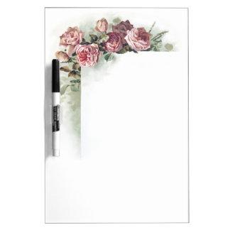 Vintage pink roses dry erase board