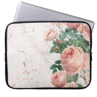 Vintage Pink Roses Floral Marble Custom Laptop Sleeve