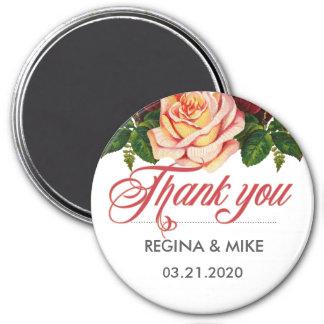 Vintage Pink Roses for Flower and Floral Wedding Magnet
