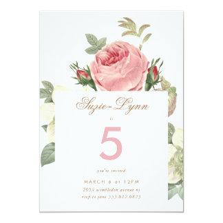 Vintage Pink Roses Girl Birthday Invitation