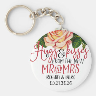 Vintage Pink Roses Hugs and Kisses New Mr and Mrs Keychain