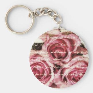 Vintage Pink Roses Keychains