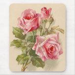 Vintage pink roses mousepad