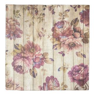 Vintage Pink Roses on Wood Duvet Cover
