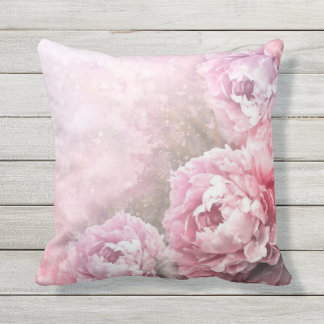 Vintage Pink Roses Outdoor Pillow