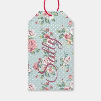 Vintage Pink Roses Personnalised Gift Tags