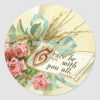 Vintage Pink Roses Scripture Classic Round Sticker