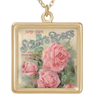 Vintage Pink Roses seed packet -Necklace Gold Plated Necklace