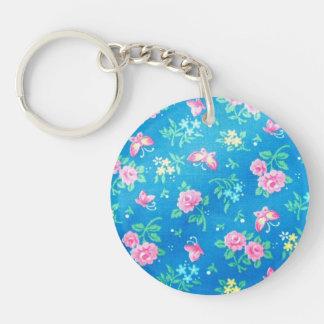 Vintage Pink Roses Single-Sided Round Acrylic Keychain