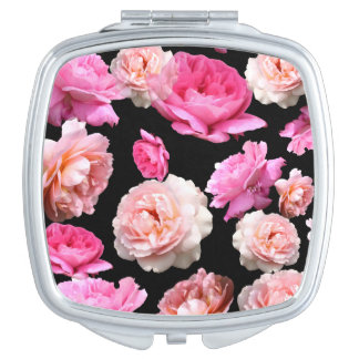 Vintage Pink Roses Square Duo Mirror Compact Makeup Mirrors