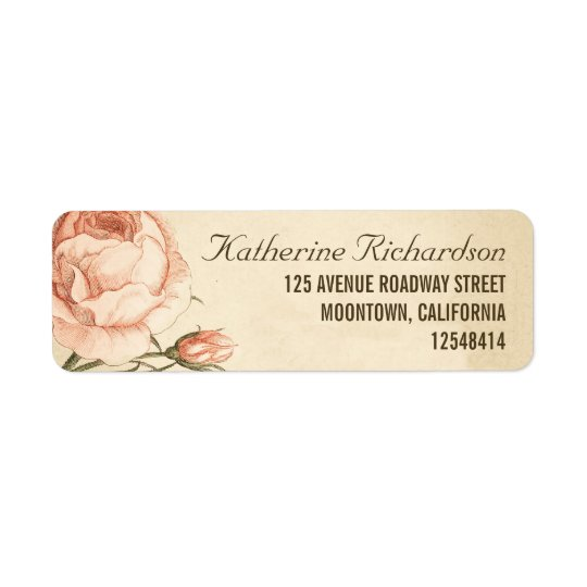 vintage pink roses wedding address labels