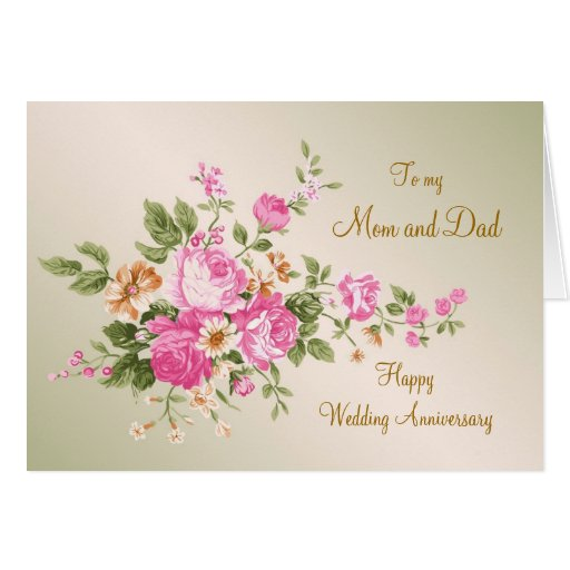 Vintage pink roses wedding anniversary mom and dad zazzle