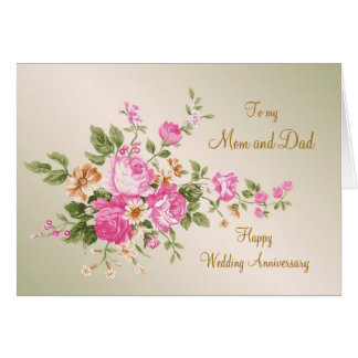 Vintage pink roses Wedding Anniversary Mom and Dad Greeting Card