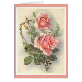 Vintage Pink Roses with Rosary Card