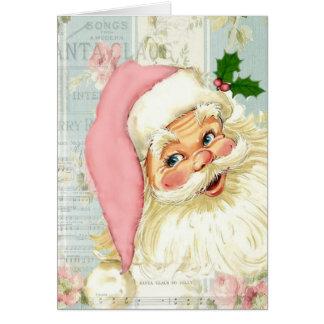 Vintage Pink Santa Claus at Window Card