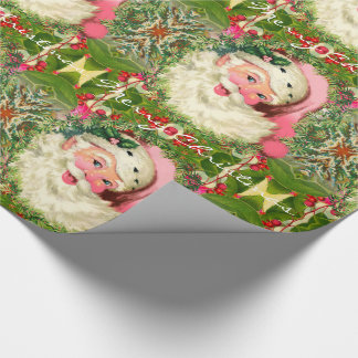 Vintage Pink Santa For Christmas Wrapping Paper