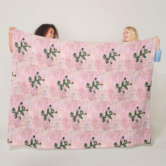 Vintage Pink Script and Wild Pansies Fleece Blanket