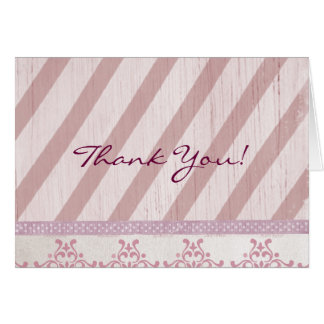 Vintage Pink Stripe Thank You Note Card