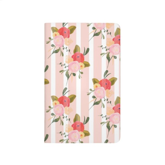 Vintage Pink Stripes Floral Wallpaper Journal