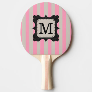 Vintage Pink Stripes Pattern Black Custom Monogram Ping Pong Paddle
