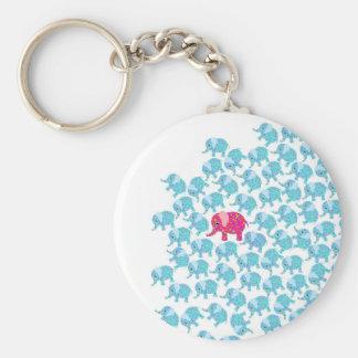 Vintage pink teal floral cute elephant pattern keychain