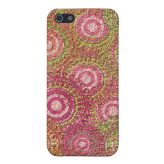 Vintage Pink Textured Dot and Circle Pattern Cover For iPhone 5/5S