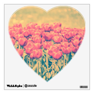 Vintage Pink Tulips Field Wall Sticker
