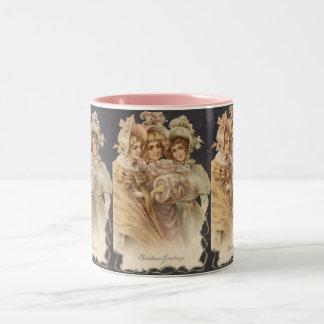Vintage Pink Victorian Christmas Mug
