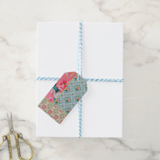 Vintage pink wallpaper gift tags pack of gift tags