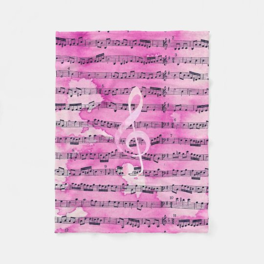 Vintage pink watercolor classical clef music sheet fleece blanket