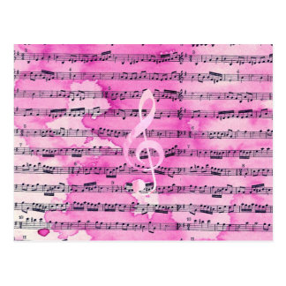 Vintage pink watercolor classical clef music sheet postcard
