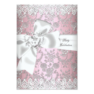 Vintage Pink White Lace Damask Floral 3 Card