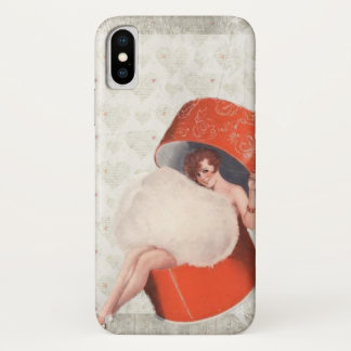 Vintage pinup girl emerging from a red hatbox. iPhone x case