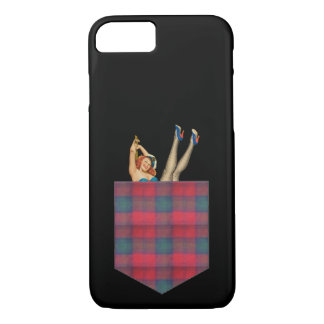 Vintage pinup girl in a red and green plaid pocket iPhone 7 case