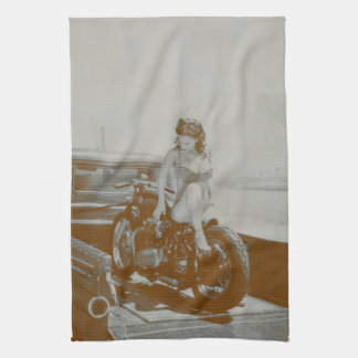 VINTAGE PINUP GIRL ON MOTOCYCLE. KITCHEN TOWEL