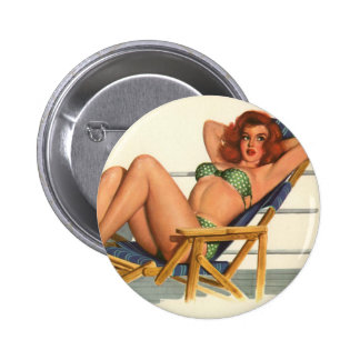 Vintage Pinup Girl Original Colouring 22 2 Inch Round Button