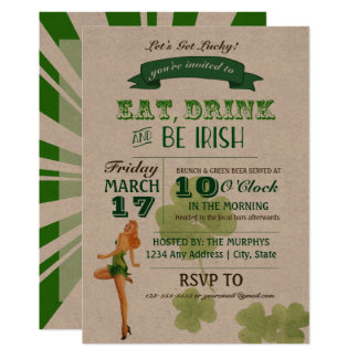 Vintage Pinup St. Paddy's Day Party Invitation