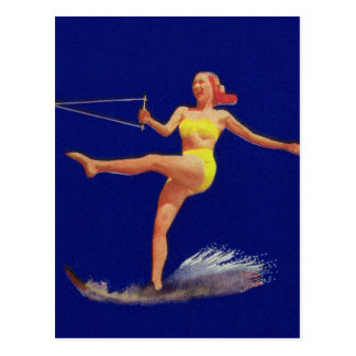 Vintage Pinup Water Skiing Girl Postcard