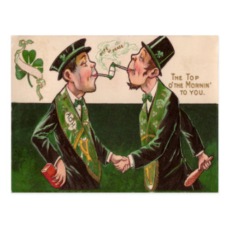 Vintage Pipes of Peace St Patrick's Day Card Postcard